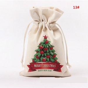 В наличии! Рождественский подарок сумка Pure Cotton Canvas кулиской Sack Сумки Санта-Клауса Xmas Tree Elk дизайн Рождественский подарок конфеты мешок DBC DH2603