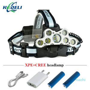 Wholesale-9*cree XML T6 LED headlamp USB charge waterproof lantern headlamp high Power multifunction torch 8000lm Camping fishing Lamp