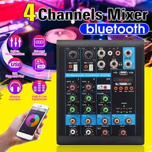 Mini 4 Channels Audio Mixer USB bluetooth DJ Sound Mixing Console MP3 Karaoke Amplifier 48V Phantom Power for KTV DJ Studio