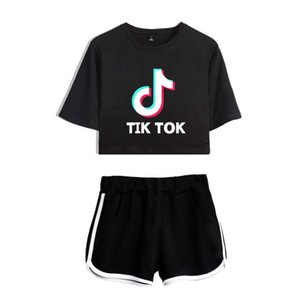 Дамы / девушки Tik Tok печатные футболки Музыка Видео приложение логотип топ с шортами хип-хоп уличная пижама наборы хлопок с коротким рукавом футболки