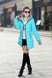 Cheap Wholesale Outono Inverno Slim Down Cotton Jacket Feminino Médio -Long espessamento com um capuz das mulheres Brasão Luvas Wadded