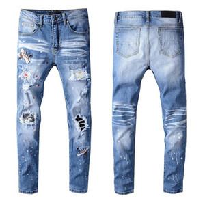 New Mens stylist Jeans Men Women High Street Motorcycle Biker Ripped Jeans Fashion Slim Fit Mens Skinny Jeans Pants Size 28-40