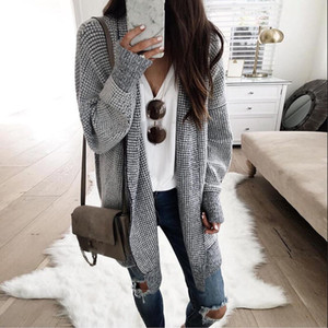 Plaid Knitting Long Cardigan Women Spring Sweater Knitted Cardigans Female Soft Casual Outwear Pull Jumper