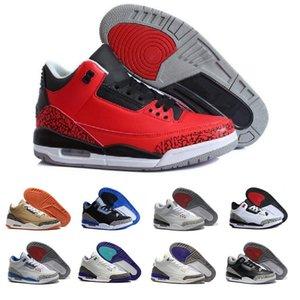 Высокое Количество 3 черных белого цемент баскетбол обувь воздуха подправлять спорт синего волк серого ураган красные J3 ретро кроссовки 3s тренеры