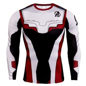 جديد مصمم المنتقمون ضغط طويلة الأكمام الرجال الجري قميص الصيف الذكور رياضة t قميص مارفل سوبر هيروز rashguard الذكور نجوم النادي