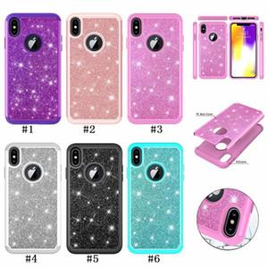 2 en 1 Bling paillettes antichoc en silicone souple + étui de protection pour iphone X XS Max XR 8 7 6 6S Plus Galaxy S9 Plus Note 9 J3 J7 2018