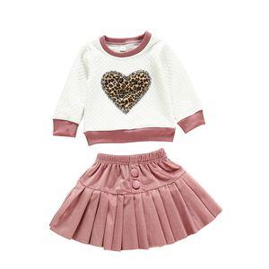 Enfant Filles Jupe Costumes Tout-petit bébé O-Neck Leopard Lattice Débardeurs Enfants Costume Vêtements Casual Filles Solid Button Jupes Ensembles 06
