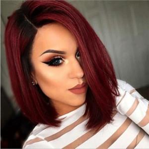 Kadınlar için güzellik Ombre Kırmızı Bob Peruk Sentetik Kısa Sarışın Siyah Kahverengi Düz Peruk Bordo Saç Isıya Dayanıklı Fiber