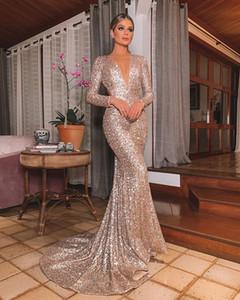Venta caliente Vestido de noche de oro Long Shinny 2020 NUEVO NUEVO Cuello abierto Mujeres elegantes Correas de lentejuelas Mermaid Maxi PROM PRIG Fiesta Vestido Abendkleider