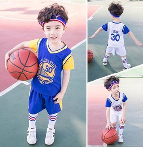 New boys' summer sportswear suit casual children's loose digital T-shirt + shorts basketball two piece suit manufacturer's size 90-180cm