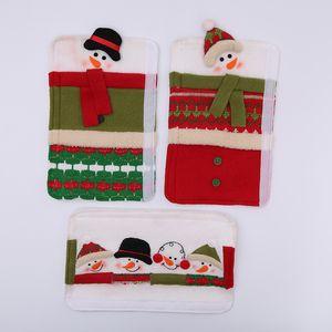 Alças criativo microonda porta Covers Snowman Anticollision Frigorífico Handle luva Fit Natal Indoor Decor ções 3pcs Set