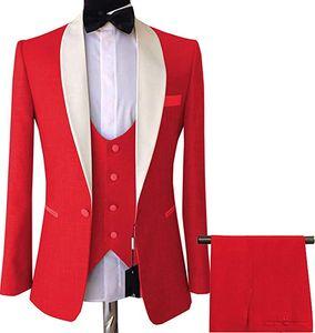 Red One Button Groomsmen Shawl Lapel Wedding Groom Tuxedos Men Suits Wedding Prom Dinner Best Man Blazer(Jacket+Vest+Pants)