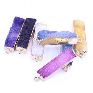 Pierre naturelle de guérison rectangulaire en cristal Druzy Connecteur pour les bijoux Faire LGMJY-022