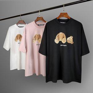 2020SS la primavera y el verano nueva letra de la cabeza del oso roto palma PA Ángeles impresión de los hombres y mujeres de manga corta camiseta ocasional