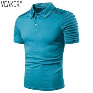 2019 New men Slim Fit Shaped shirts Summer Casual Short Mouwen Man Effen Color White Black Shirt tops M -3XL