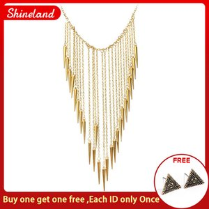 Chain Necklaces 2020 New Collar Fashion Rivet Pendant Necklace For Women Vintage Long Tassels Choker Necklace Punk Chain Gold-color Jewelry