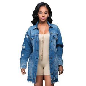 Frauen zerrissen Denim lange grundlegende lose Herbstmantel Jeans Mantel Damen Lässige Straßenart Löcher Baggy Jacke Outwear