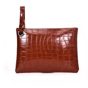 New Fashion 2020 Women Alligator PU Leather A4 Briefcase Handbag Envelope Large Clutch Zipper Wristlet Bag