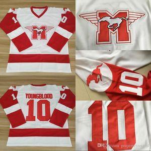 # 10 SUTTON YOUNGBLOOD Film Hamilton MUSTANGS Eishockey Jersey Mens 100% genähtes YOUNGBLOOD Hockey Jerseys Weiß-freies Verschiffen
