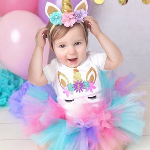 Unicorn Birthday Outfits for 1 Year Old Baby Girl Clothes Tops+tutu Dress+Headband 3pcs Unicorn Sets Infant Christening Wear