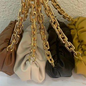 Nouvelle arrivee! Célèbre Designer Marque souple en cuir véritable sac de dames poche avec grande chaîne en métal Messenger Sac à main pour les femmes