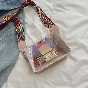 Free2019 Tide Woman Прозрачная сумка с цветной лентой Широкополосное желе с одним плечом Span Пакет Конфеты Цвет Doodle Пакет