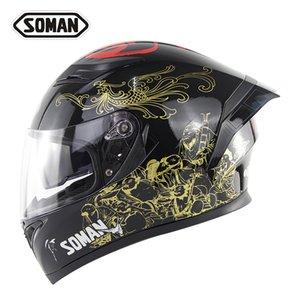 SOMAN Equitação da motocicleta Lens cauda dupla asa Capacetes 955.960 Universal Personalidade Modificado DOT ECE touca protetora Saftey