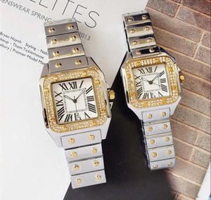 Quadrado cheio de diamantes de aço relógio de quartzo para homem mulher japão movimento relógios de diamante relógios de pulso vida marca à prova d 'água relógio masculino hot items