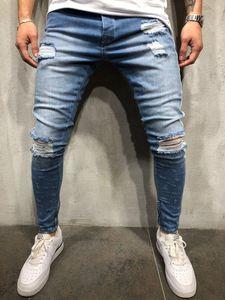 Fairy2019 Yüksek Avrupa Slim Fit Man Jeans Baskı Delikler Sokak Fermuar Yaz Erkek Pantolon Tide