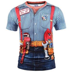 Mr.1991INC New Fashion Designed T-shirt Men Women Fake Two Pieces 3d T shirt Print Tooling Stripes Shirts Summer Tops Tees