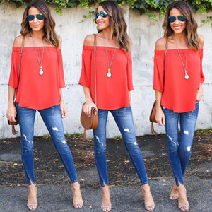Strapless Sexy Multiple Colour Women Off Shoulder Tops Long Sleeve Pullover Casual Blouse Hals Langarm Schulter Chiffon Blouse