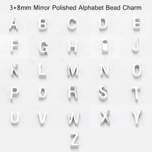 3 * 8mm trou 1.8mm En Acier Inoxydable Lettre A-Z Miroir Poli Perle Petit Trou Perle Alphabet Lettres Charme bijoux rendant livraison gratuite