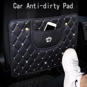 La moda de cuero Anti-Niño-Kick Pad para asiento de coche del Rhinestone del diamante de la corona de Anti-Niño-Kick Pad