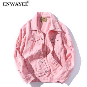 ENWAYEL 2018 осень денима джинсы вскользь куртки мужчин пальто моды Мужской пиджак Hip Hop Одежда Одежда мужская Проблемные Hole Ripped