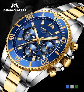 Megalith Reloj Hombre Moda Casual Assista Men Waterproof Analógico 24 horas Data Quartz Relógios Sports Chronograph Masculino Relógio