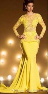Saudi Arabia Dubai Mermaid Elegant Evening Dresses 2019 Sexy Yellow Formal Prom Gowns Kaftan Lace Long Sleeve robe de soiree 199