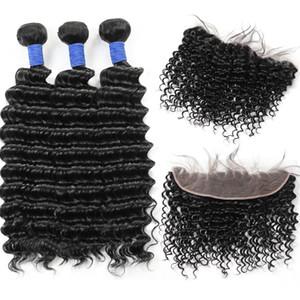10A brasiliano Onda profonda 3Bundles con il 13 * 4 Frontal del merletto peruviano malese indiano capelli umani del Virgin bundle con chiusura il prezzo all'ingrosso