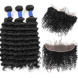 10A Brazilian Deep Wave 3Bundles with 13*4 Lace Frontal Peruvian Malaysian Indian Virgin Human hair Bundles with Closure Wholesale Price