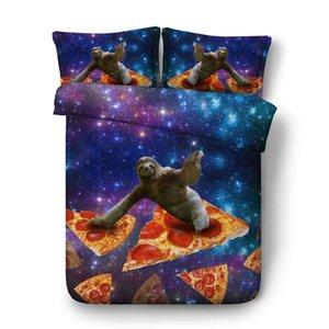 Sloth Consolador capa azul roxo Galaxy Colchas Pizza Bed 3 peças conjuntos de cama 1 Gifts capa de edredão 2 Pillow Shams Coverlet crianças