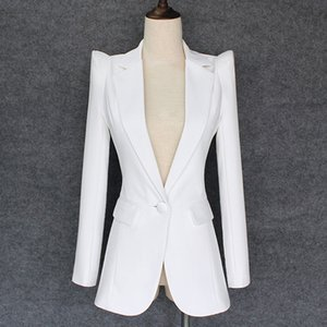 CALIDAD SUPERIOR 2018 nuevo y elegante del diseñador del encogimiento de hombros de la chaqueta de las mujeres solo botón blanca chaqueta de la chaqueta