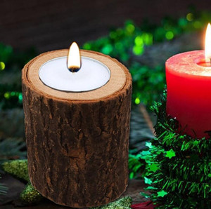 Porte-bougie en bois Vintage Candlestick Table Décoration Succulent Plant Flowerpot pour mariage rustique vacances décoration 3 Taille
