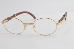 Atacado Rodada Eye Glasses Óculos Vintage Madeira Vidros óticos Homens Ouro 18K de metal armações de óculos Frame Size: 55-22-135mm