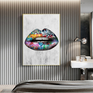 Canvas Painting Wall Posters and Prints Abstract sexy Lips Wall Art Pictures For Living Room Decoration Dining Restaurant Hotel Home Decor
