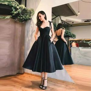 Little Black Prom Dresses Spaghetti-Trägern A Line 2019 Kurzes Cocktailkleid Tee Länge Schwarz Abendkleider
