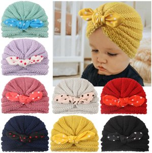 Baby autumn winter warm knit hat children's printed rabbit bunny ear wool caps Pullover hat with velvet dots striped grid bowknot