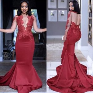 Burgundy Sheer Neck Mermaid Prom Dresses Hollow Back Illusion 3 4 Long Sleeves Lace Applique Long Formal Prom Party Gowns