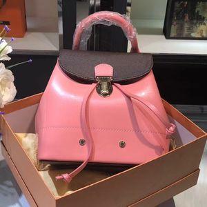 Designer-HOT SPRINGS femmes mini-sac à dos sac à dos Vernis design de luxe sacs à dos en cuir verni de la mode marque sac à dos rose M53545