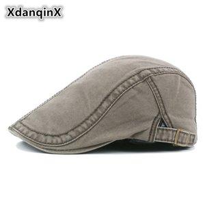 XdanqinX% 100 Pamuk Erkekler Şapka İngiliz Tarzı Retro Moda Bereliler Marka Ayarlanabilir Kafa Boyut Tongue Cap İçin Erkekler Sombrero Yıkanmış