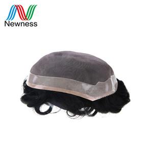 NOUVEAUTÉ Toupet durable Remy cheveux humains Hommes postiche dentelle PU Hommes cheveux système Mono net de base PU Can Cut