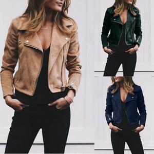 Kadın Retro Ceket Yaka Takım Elbise Yaka Eğimli Fermuar Ceket Dış Giyim Sonbahar Bahar Temel Kısa Biker Ceketler Artı boyutu LJJA2829